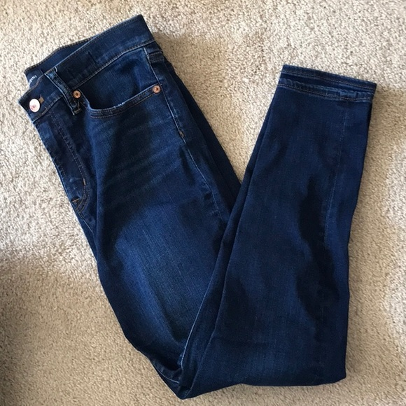 J Crew size29 dark wash jeans 10 in rise toothpick